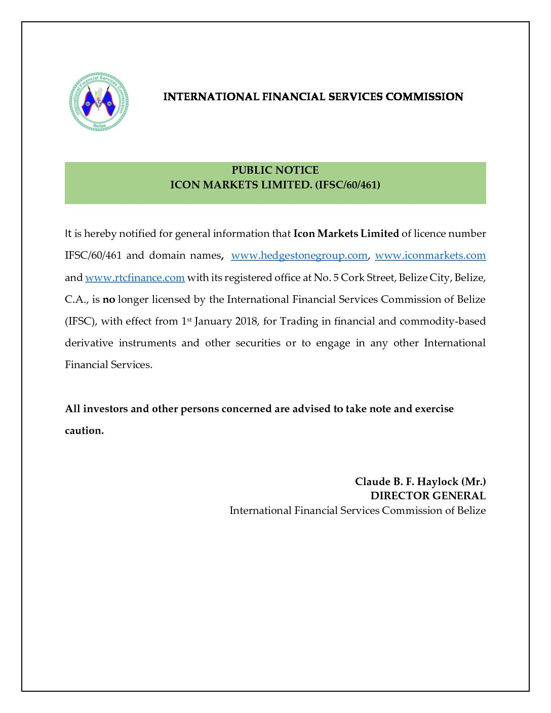 PUBLIC NOTICE – ICON MARKETS LIMITED. (IFSC/60/461)